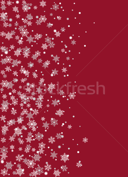 Realistic Snowflakes on Burgundy Background Vector Stock photo © robuart