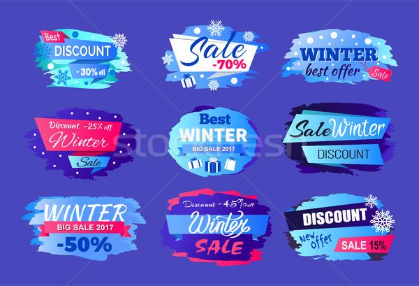 Winter Discount Best Offer Vector Illustration Set Stock photo © robuart