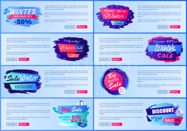 Web Online Layouts Winter Posters Offer Discounts Stock photo © robuart