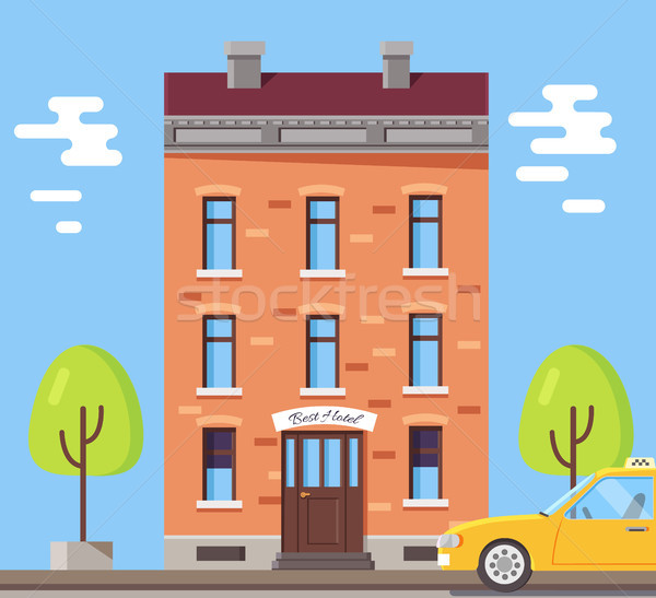 Hotel Building Poster Vector Illustration Stock photo © robuart