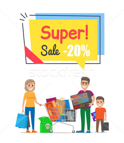 Super Sale with 20 Off Promo Poster with Family Stock photo © robuart