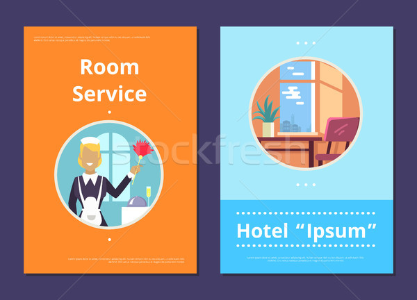 Roomservice hotel internet pagina werkster pluizig Stockfoto © robuart