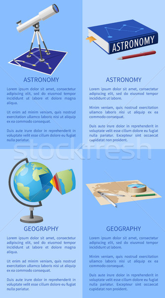 Astronomy Poster with Telescope Books on Geography Stock photo © robuart