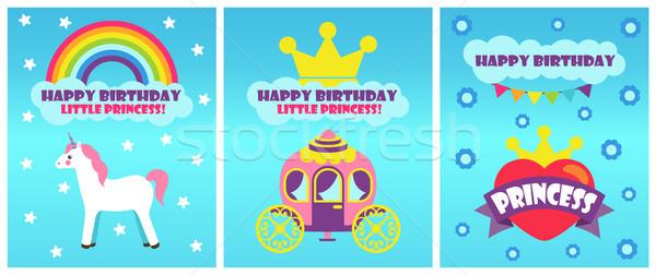 Joyeux anniversaire peu princesse ensemble affiches Photo stock © robuart