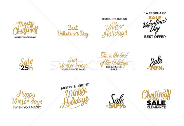 Winter Holiday Decorated Discount Labels Poster Stock photo © robuart