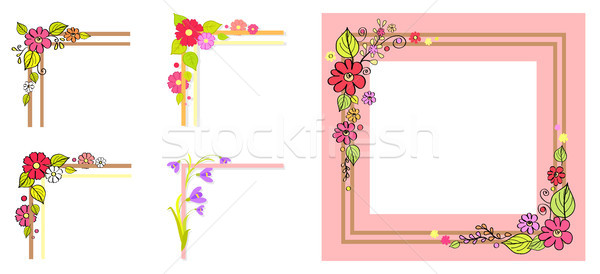 Pink Frame Thick Parallel Lines, Bouquet in Corner Stock photo © robuart