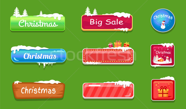 Set of Winter Theme Web Push Button Covered Snow Stock photo © robuart