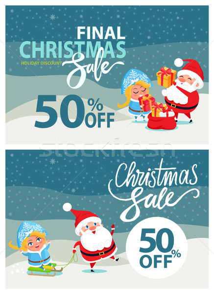 Final Christmas Sale Bbanner Santa Claus Snow Maiden Stock photo © robuart