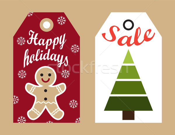 Szczęśliwy wakacje sprzedaży wiszący promo Zdjęcia stock © robuart