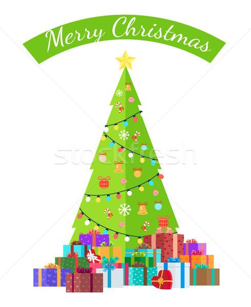 Joyeux Noël félicitation lumineuses épinette affiche Photo stock © robuart