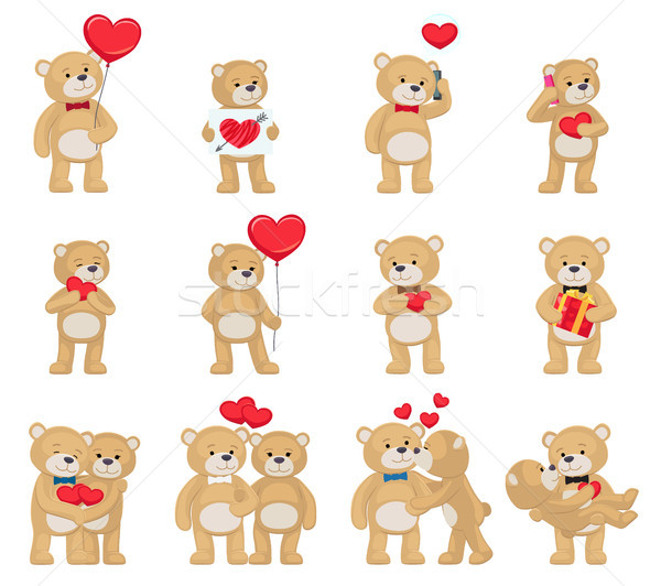 Soft Toy Teddy Bears Couples with Hearts in Love Stock photo © robuart