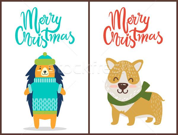 веселый Рождества два ярко поздравление плакатов Сток-фото © robuart