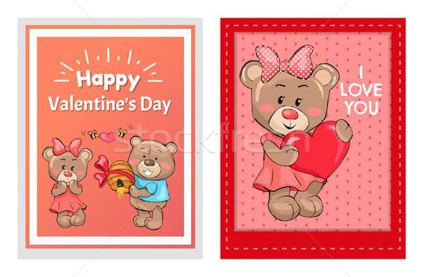 Mutlu sevgililer günü sevmek posterler erkek oyuncak Stok fotoğraf © robuart