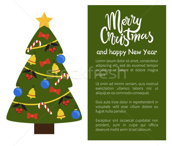 Stok fotoğraf: Neşeli · Noel · happy · new · year · poster · ağaç · dekore · edilmiş