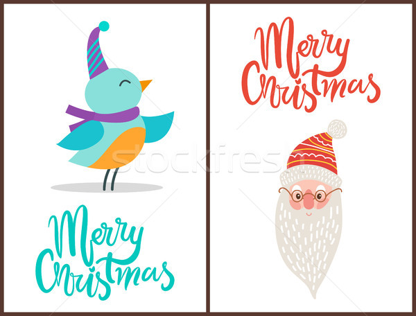 Merry Christmas Bird and Claus Vector Illustration Stock photo © robuart