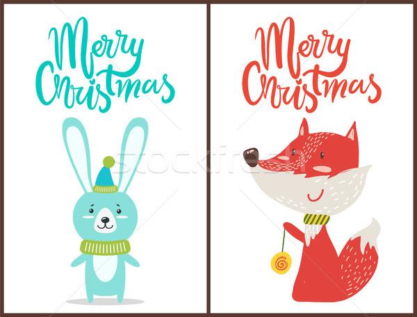 Vrolijk christmas felicitatie schattige dieren witte vos Stockfoto © robuart