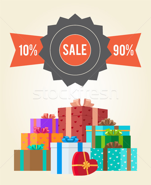 Sale from 10 to 90 Buy Now Promo Label Gift Boxes Stock photo © robuart