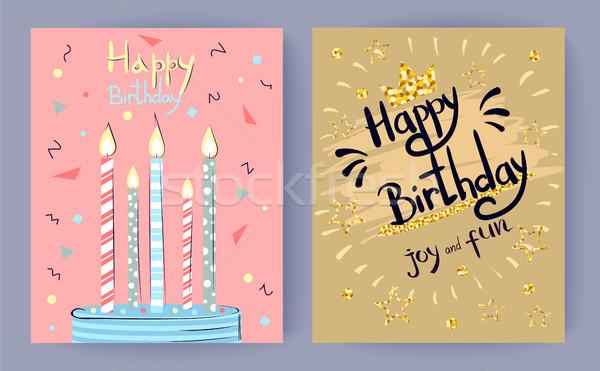 Feliz aniversário alegria diversão congratulação cartaz decorado Foto stock © robuart