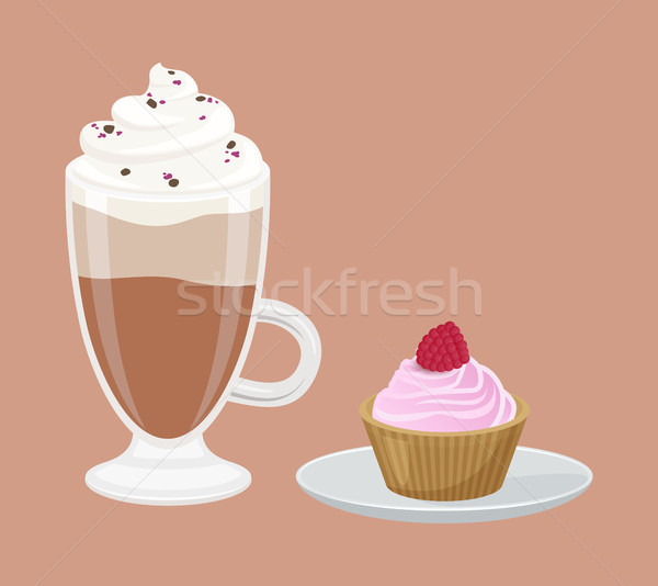 Cappuccino and Cupcake Poster Vector Illustration Stock photo © robuart