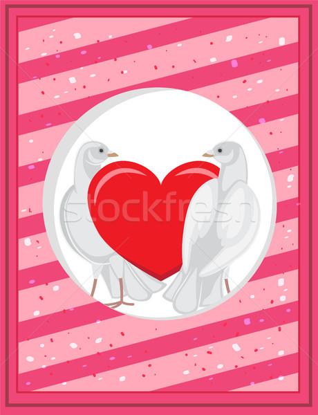 Bianco rosso cuore modello domestico tenero Foto d'archivio © robuart