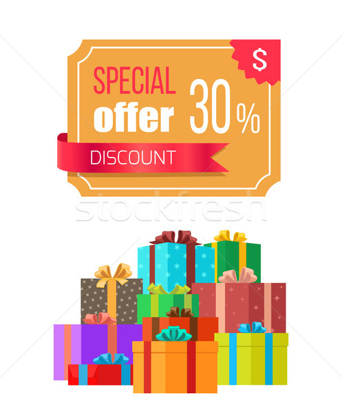 Special Offer 30 Off Discount Emblem Gift Box Stock photo © robuart