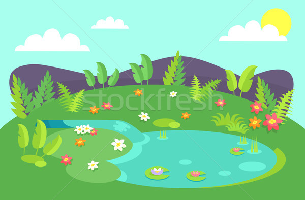 Pond with Tropical Bushes and Green Leaves Flowers Stock photo © robuart
