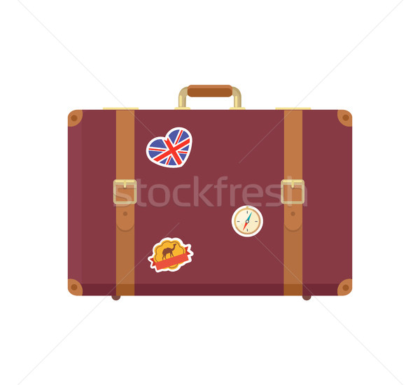 Leather Vintage Suitcase with Decorative Memories Stock photo © robuart