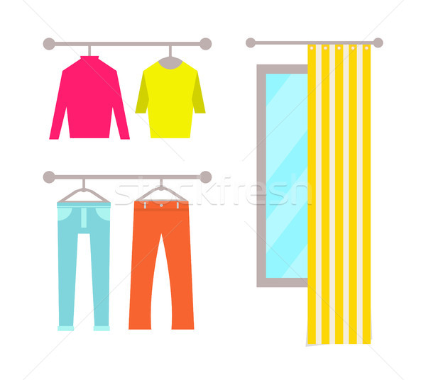 Clothing Store Changing Room Vector Illustration Stock photo © robuart