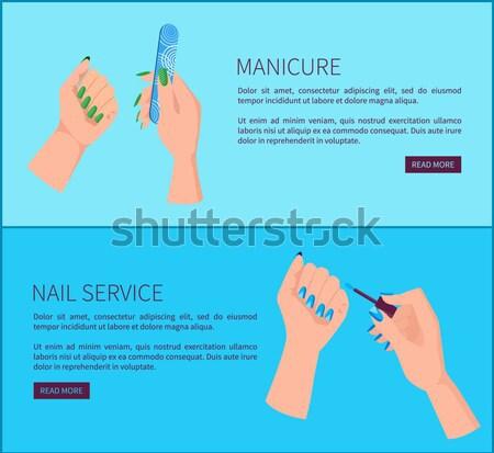 Mãos unha polonês bandeira modelo unhas escove Foto stock © robuart