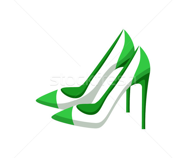 Pair of Modern Heeled Shoes, Multicolored Banner Stock photo © robuart