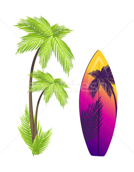 Surfing Board and Palm Tree Vector Illustration Stock photo © robuart