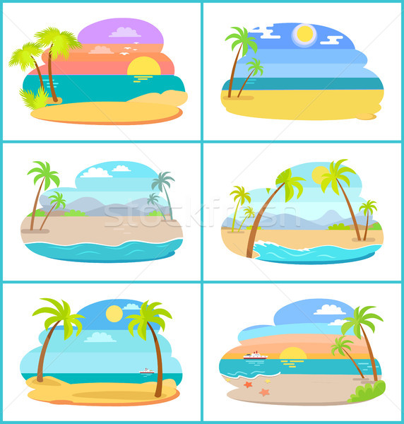 Sandy Beaches in Broad Daylight and at Sunset Set Stock photo © robuart