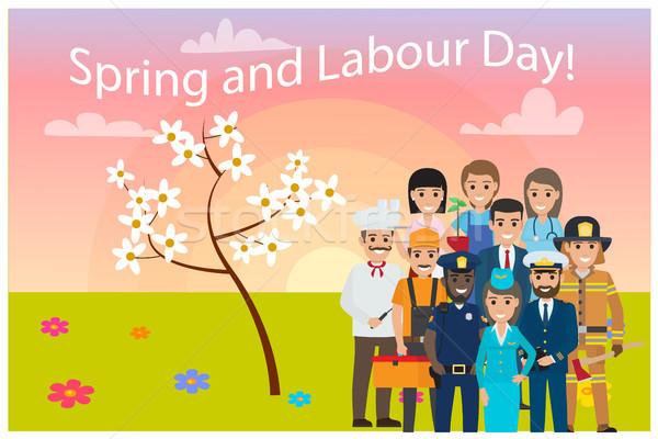 Tous Ouvrir la professions printemps fête du travail carte Photo stock © robuart