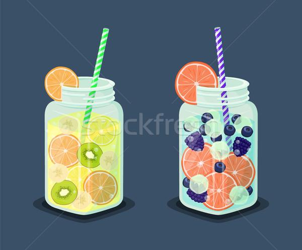 Szett frissítő ital friss kiwi italok Stock fotó © robuart