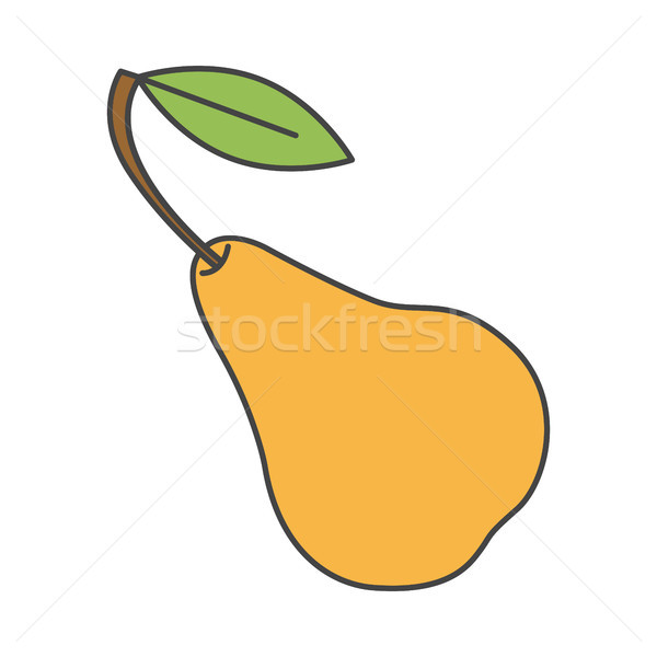 Yellow Pear with Green Leaf Close-up Flat Design Stock photo © robuart