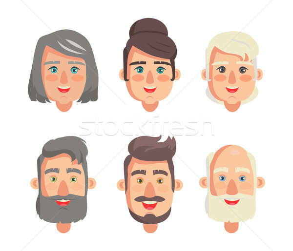 Grandparents Faces Collection Vector Illustration Stock photo © robuart