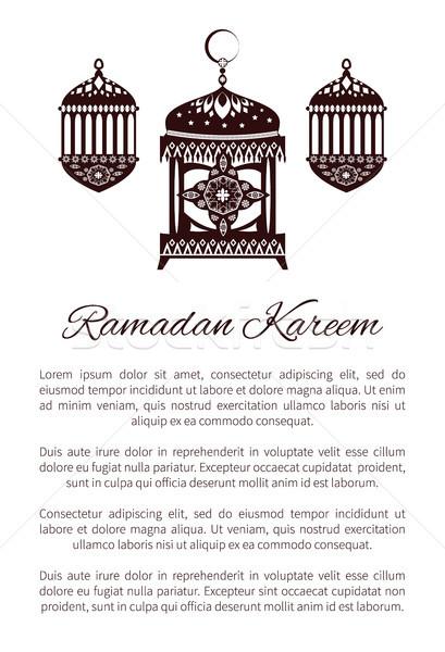 Ramadán poszter arany lámpás iszlám szimbólum Stock fotó © robuart