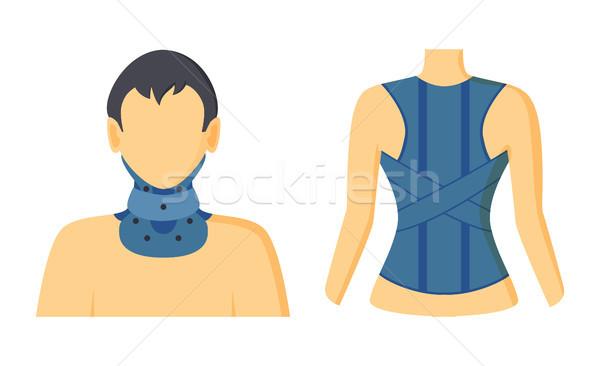 Stock fotó: Ortopéd · gyűjtemény · kék · segít · nyak · gerincoszlop