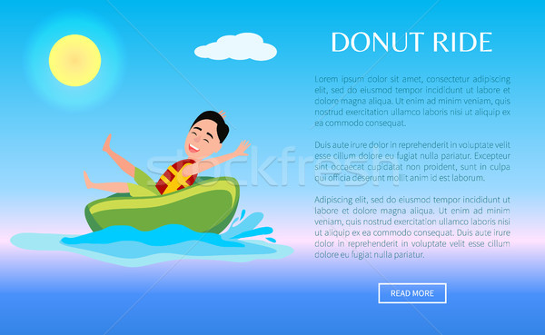 Donut Ride Web Poster Design with Boy Having Fun Stock photo © robuart