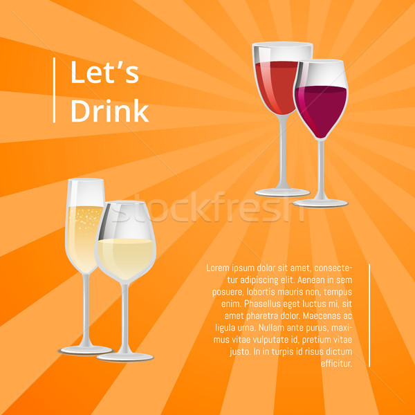 Lets Drink Poster Pair Glasses Vector Two Drinks Stock photo © robuart