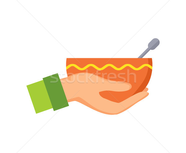 Hand Holding Bowl and Ornament Vector Illustration Stock photo © robuart
