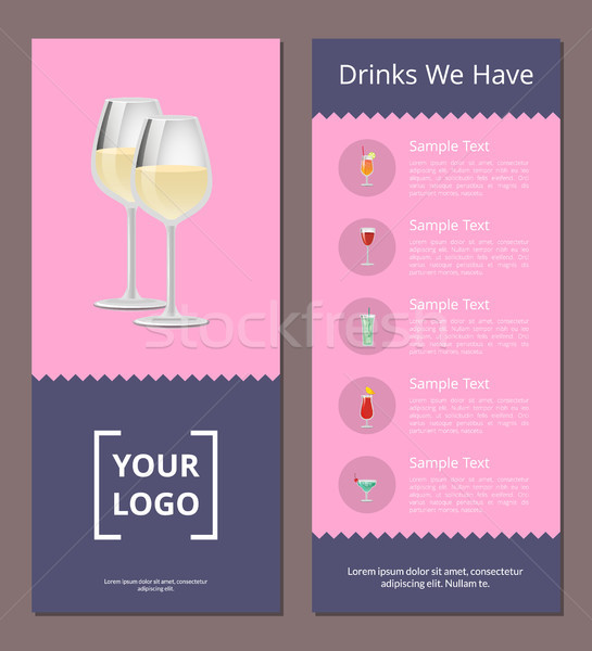 Cocktails Menu Cover Design with List of Drinks Stock photo © robuart