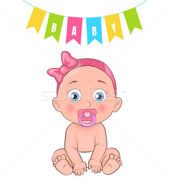 Baby Girl Poster Newborn Infant Pacifier in Mouth Stock photo © robuart