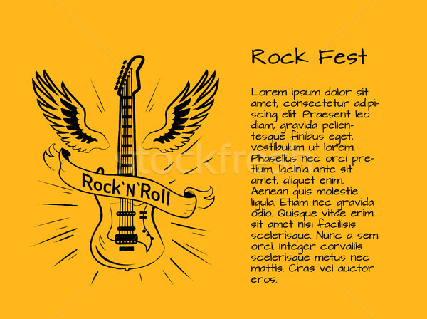Rock and Roll Fest Poster Vector Illustration Stock photo © robuart