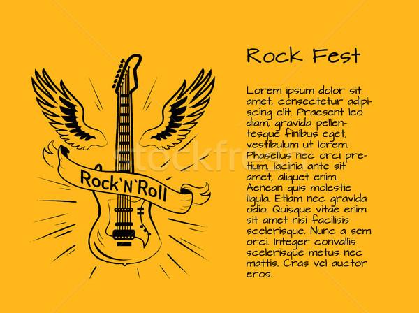 Rocha rolar cartaz colorido guitarra elétrica asas Foto stock © robuart