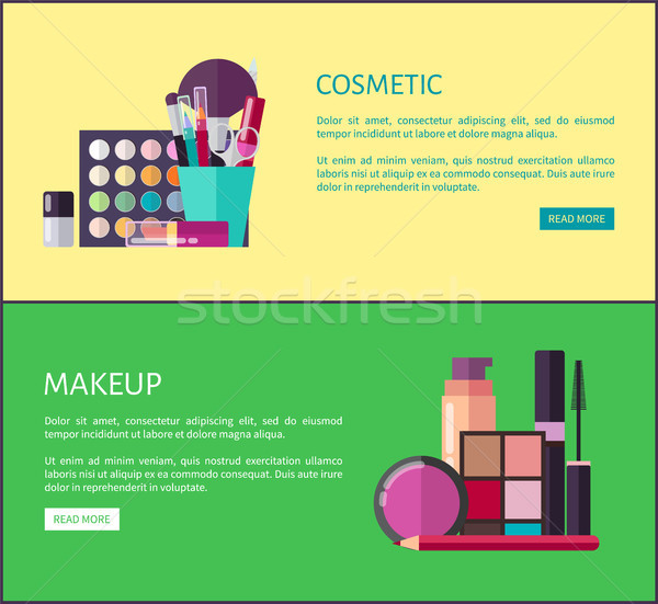 Cosmetic and Makeup Online Shop Web Page Templates Stock photo © robuart