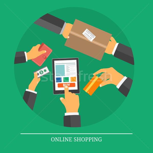 Foto stock: Varejo · comércio · marketing · elementos · compras · on-line · ícones