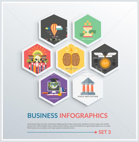 Infografía inicio hasta iconos Foto stock © robuart
