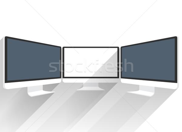 Bilgisayar monitörü yalıtılmış düz ekran beyaz resim Stok fotoğraf © robuart