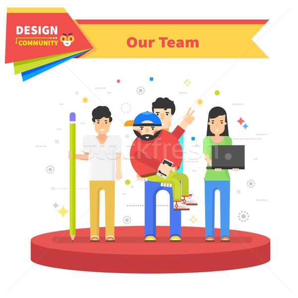Succes team lineair ontwerp teamwerk business team Stockfoto © robuart